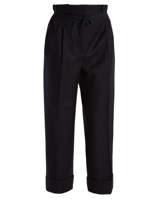 Acne | Black Tien Pinstriped Gathered-waist Wool Trousers | Lyst
