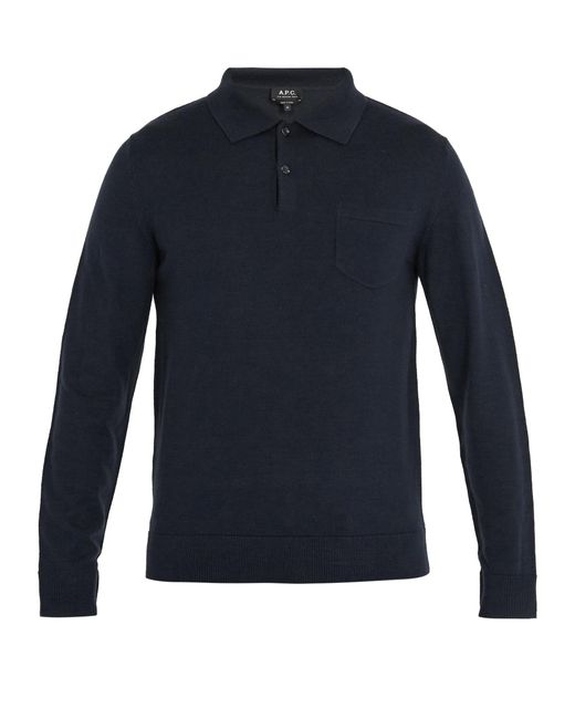 A.P.C.   Blue Ricky Long-sleeved Wool Polo Shirt for Men   Lyst
