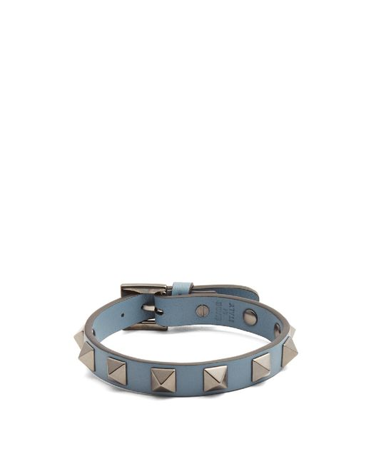 Valentino | Blue Rockstud-embellished Leather Bracelet for Men | Lyst