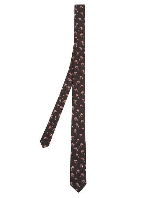 Saint Laurent | Black Flamingo-jacquard Silk-faille Tie for Men | Lyst