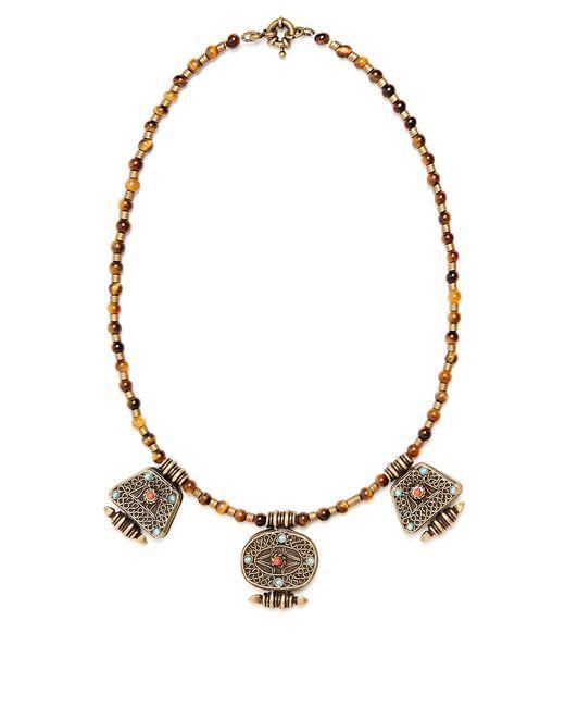 Etro | Metallic Engraved-pendant Beaded Necklace | Lyst