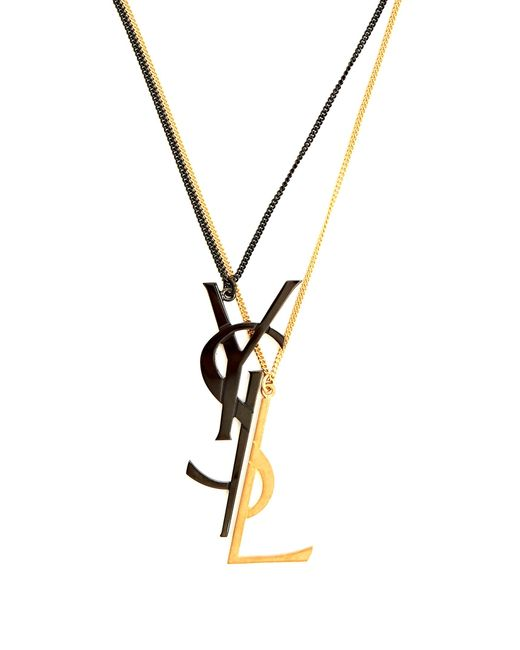 Saint Laurent | Metallic Deconstructed Monogram Double-chain Necklace | Lyst