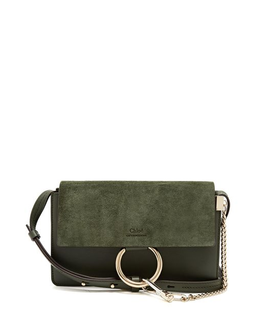 Chloé | Green Faye Small Suede And Leather Shoulder Bag | Lyst