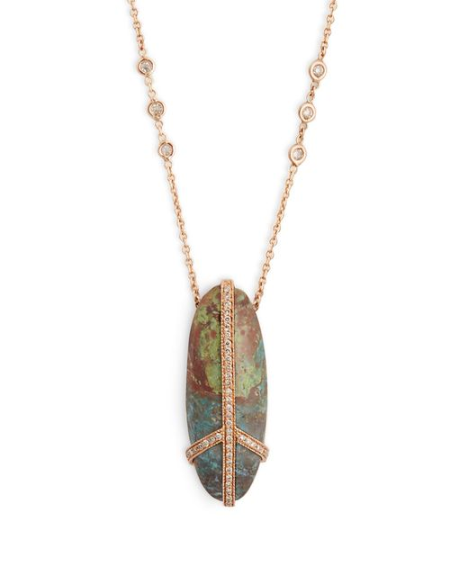 Jacquie Aiche | Metallic Diamond, Turquoise & Rose-gold Necklace | Lyst