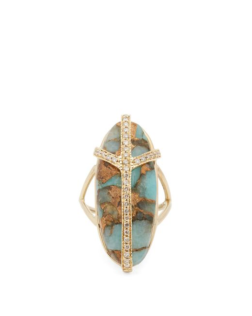Jacquie Aiche | Blue Diamond, Turquiose & Yellow-gold Ring | Lyst