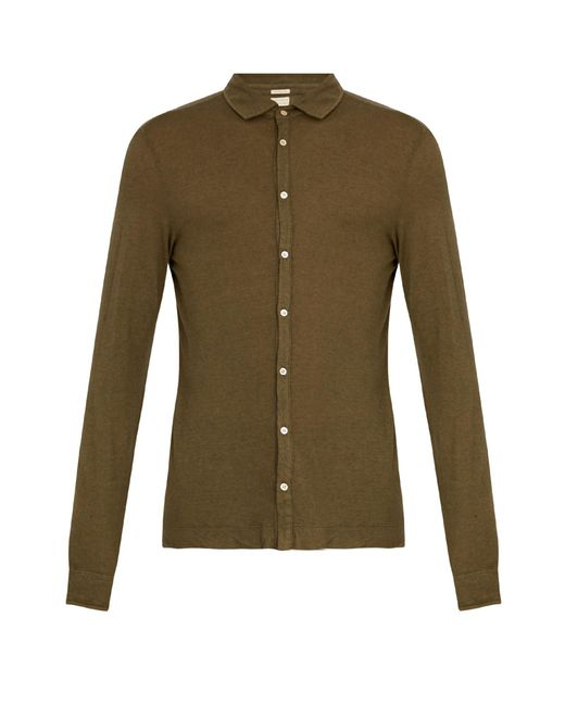 Massimo Alba | Green Spread-collar Cotton And Cashmere-blend Shirt for Men | Lyst