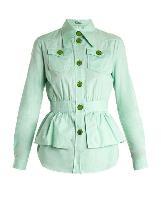 Miu Miu | Green Peplum-waist Cotton-piqué Jacket | Lyst