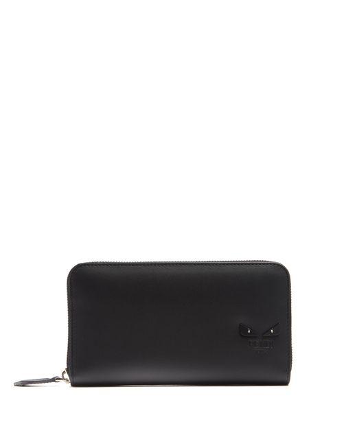 Fendi | Black Bag Bugs Zip-around Leather Wallet | Lyst