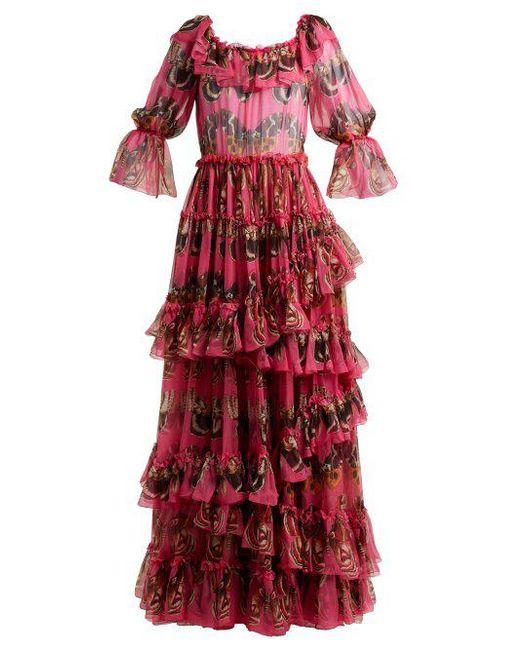 Ruffled Silk Chiffon Gown Dolce & Gabbana cRmniagTXR
