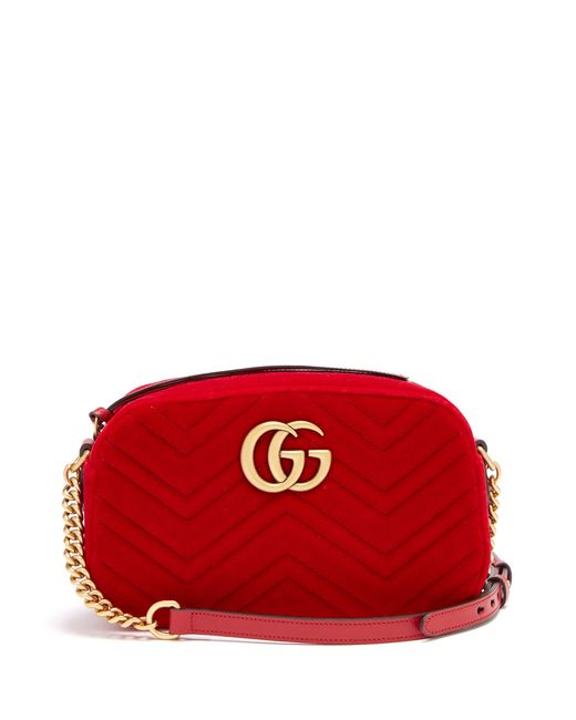 bcf50a3e7fd26 Gucci - Red Gg Marmont Quilted Velvet Cross Body Bag - Lyst ...