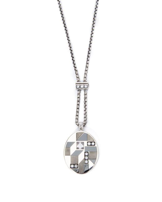 Bottega Veneta - Metallic Oval Pendant Necklace - Lyst