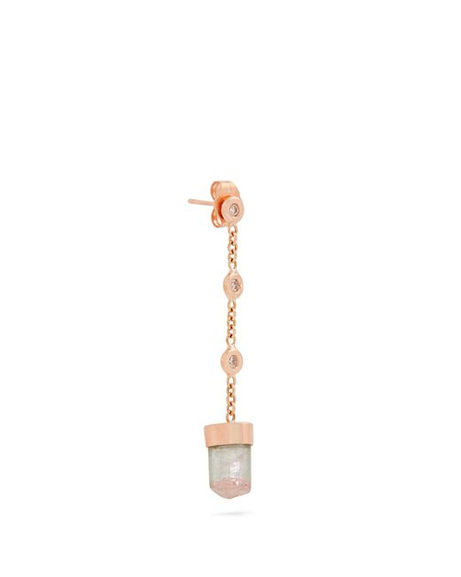 Jacquie Aiche - Green Diamond, Tourmaline & Rose-gold Earring - Lyst