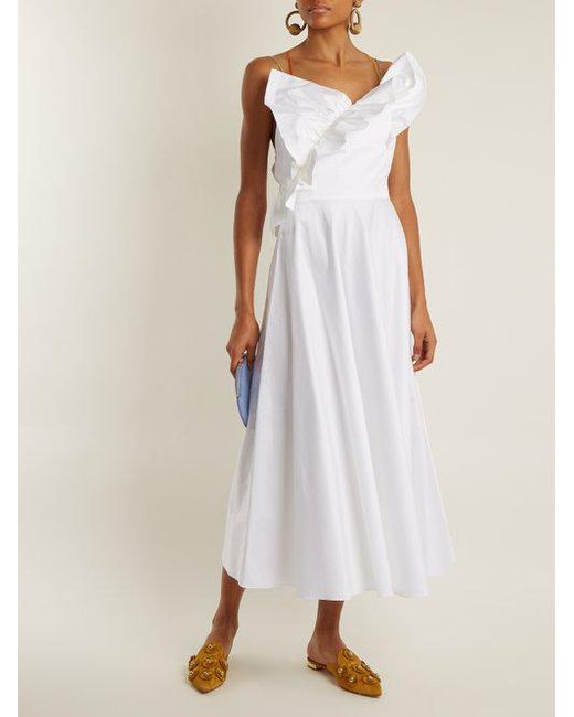 Ruffle-trimmed cotton-poplin dress ANNA OCTOBER hrRTrnFXsV