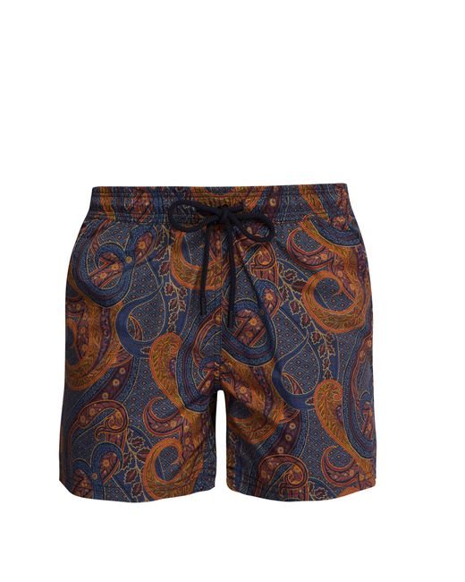 Etro - Brown Short de bain à imprimé cachemire for Men - Lyst