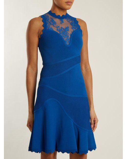 Sleeveless embroidered-tulle contrast-knit dress Elie Saab 7Q48H3UAMZ