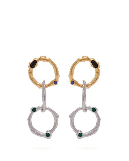 Marni - Metallic Crystal-embellished Chain-link Earrings - Lyst
