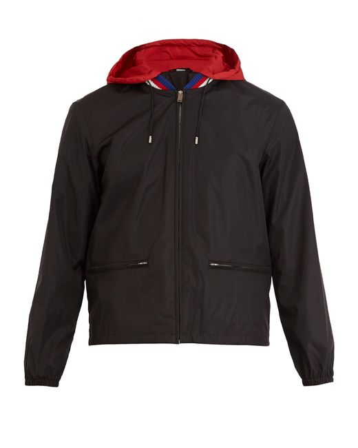 Gucci - Black Logo Print Hooded Technical Jacket for Men - Lyst