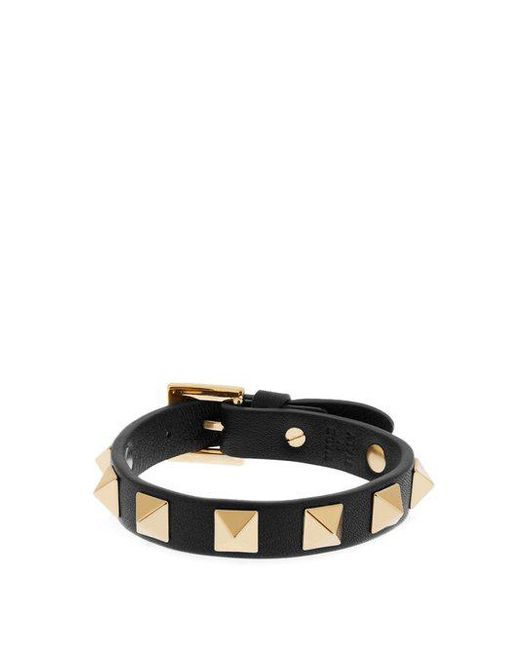 Valentino - Black Rockstud Wraparound Leather Bracelet - Lyst