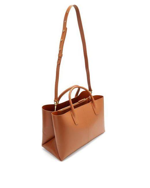 Tan-brown lined folded leather bag Mansur Gavriel 50SJcIey2