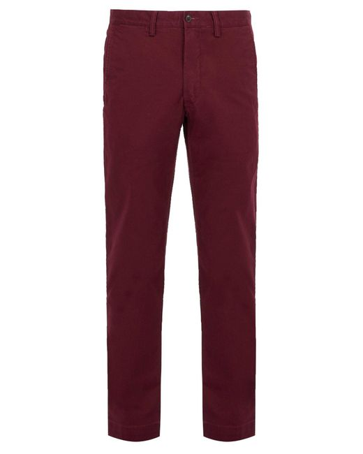 Polo Ralph Lauren - Red Slim Fit Cotton Blend Chino Trousers for Men - Lyst