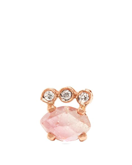 Jacquie Aiche | Pink Diamond, Tourmaline & Rose-gold Earring | Lyst