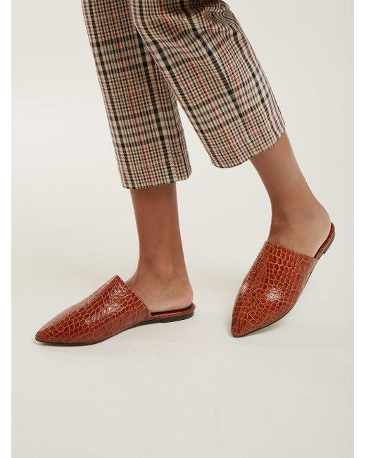 Crocodile-effect leather backless loafers Marques Almeida