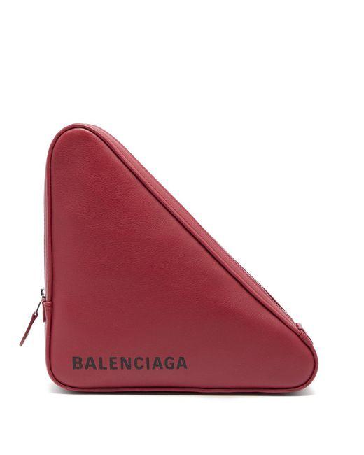 Balenciaga - Red Triangle Leather Clutch - Lyst