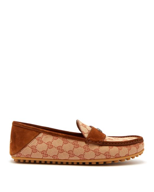 Gucci - Brown Kanye Gg Supreme Loafers for Men - Lyst