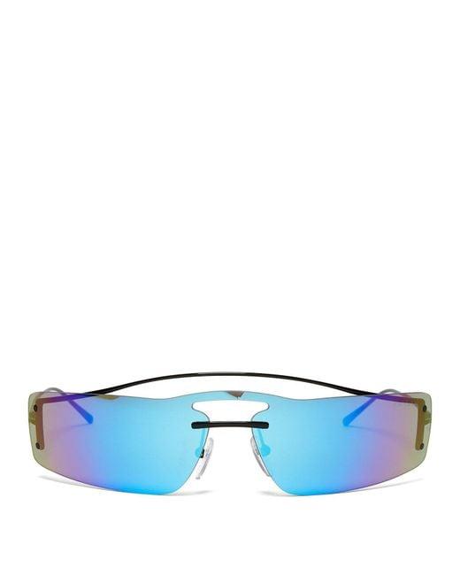Prada - Blue Iridescent Rectanglular Sunglasses - Lyst