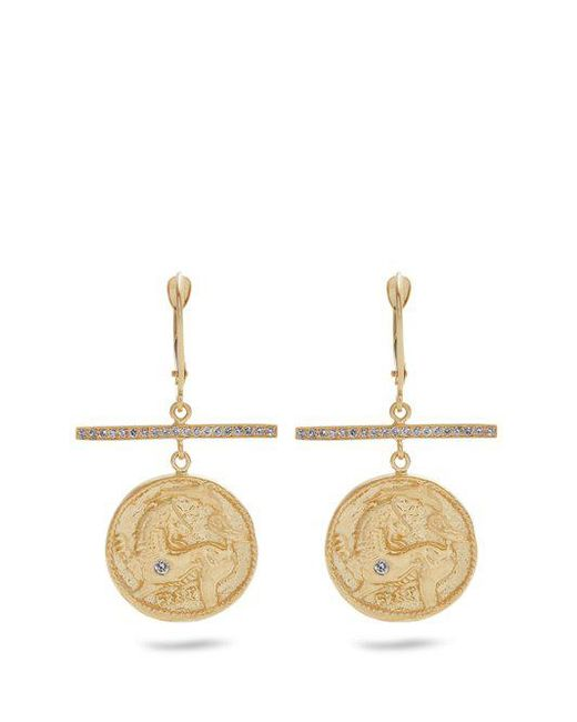Azlee - Metallic Animal Kingdom Diamond & Yellow-gold Earrings - Lyst