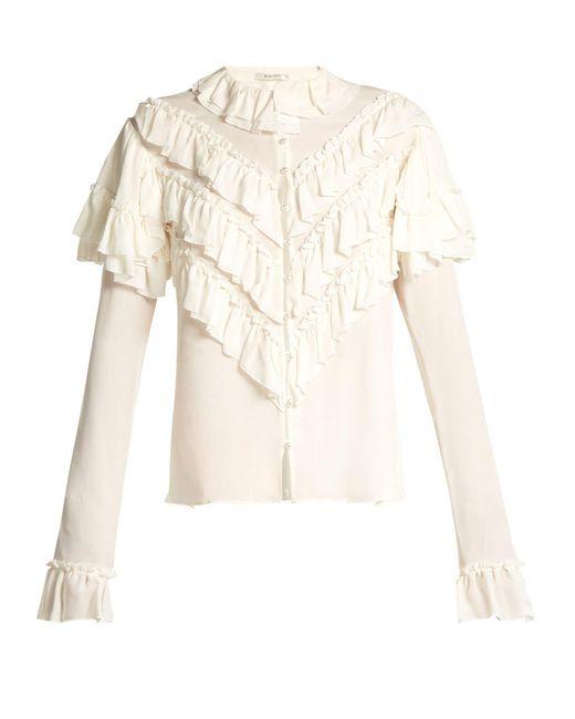 a383460319cf81 Rodarte - White Ruffled Silk Blouse - Lyst ...