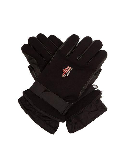 Moncler Grenoble - Black Twill And Leather Technical Ski Gloves for Men - Lyst