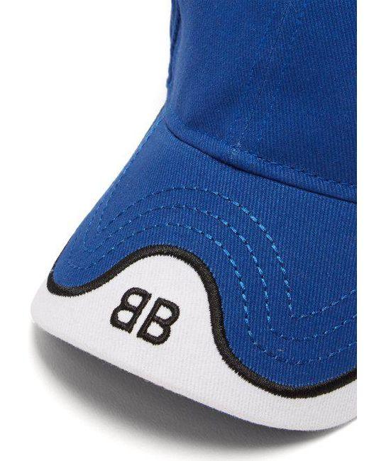 ac3d71ea69b ... Balenciaga - Blue Logo Embroidered Cotton Cap for Men - Lyst ...