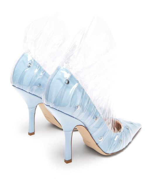 97d66c5ccb0 Lyst - MIDNIGHT 00 Shell Crescent Cotton   Pvc Ruffle Pumps in Blue