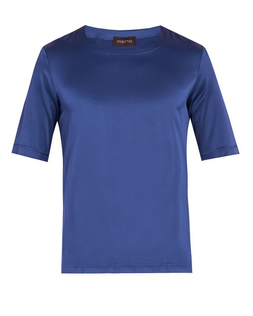 Meng   Blue Crew-neck Silk-satin Pyjama Top for Men   Lyst