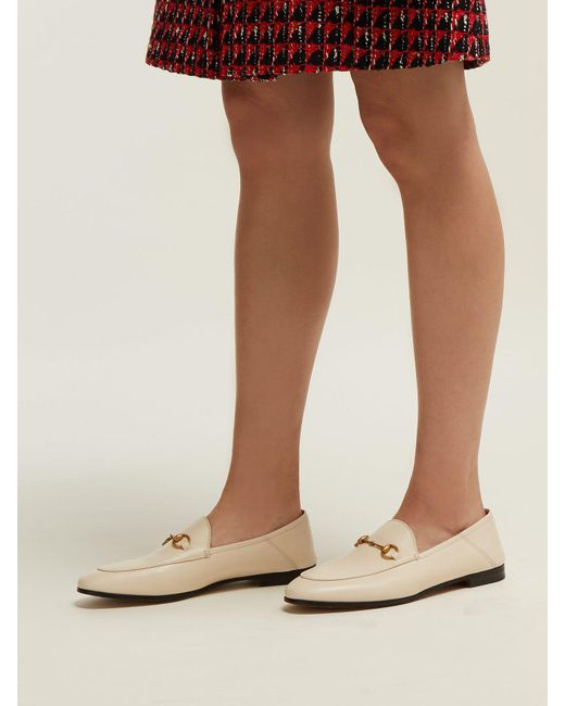 517fc2a8bb5 ... Gucci - White Brixton Collapsible Heel Leather Loafers - Lyst ...
