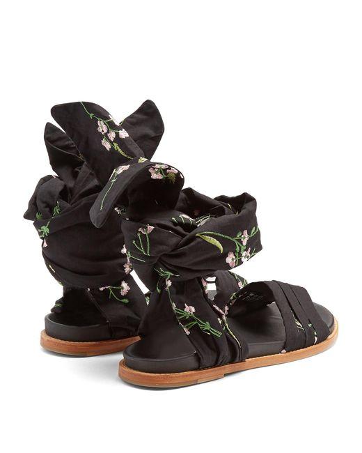 Floral Noir Marques'almeida Sandales D'emballage Brodé StAN6r