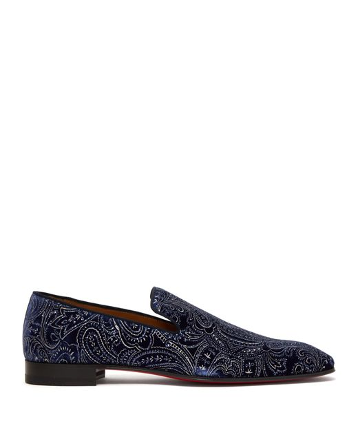 Christian Louboutin Blue Dandelion Velvet Loafers for men