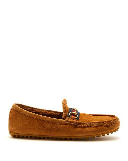 Gucci - Brown Shearling-lined Driving Loafers for Men - Lyst