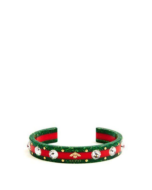 Gucci - Green Crystal-embellished Tennis Bracelet - Lyst