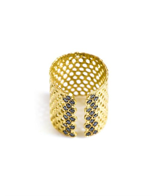 Lara Melchior - Metallic Bague I Black Diamond And Gold-plated Ring - Lyst