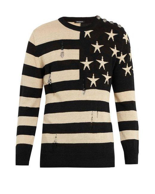 Balmain - Multicolor Stars And Stripes Jumper for Men - Lyst
