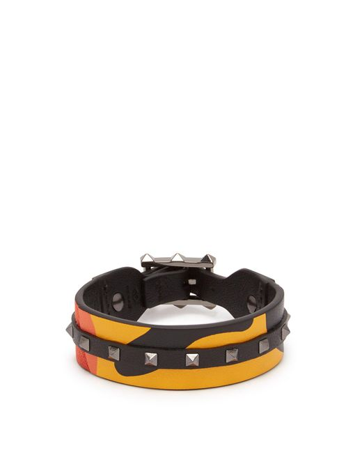 Valentino - Orange Rockstud Camouflage Leather And Canvas Bracelet for Men - Lyst
