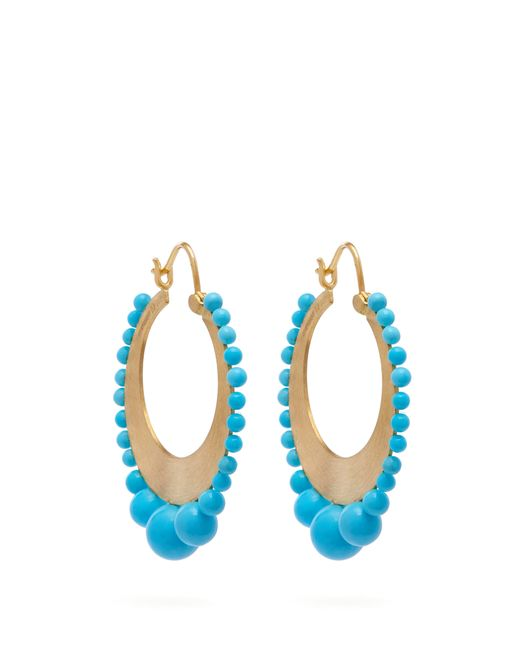 Irene Neuwirth - Multicolor 18kt Gold & Kingman Turquoise Earrings - Lyst