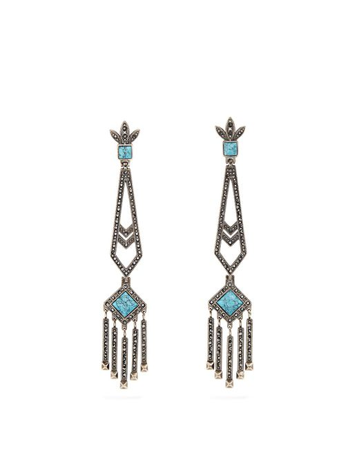 Valentino | Blue Embellished Drop Earrings | Lyst