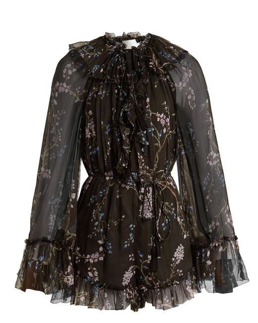 Zimmermann | Black Paradiso Floating Floral-print Silk Playsuit | Lyst
