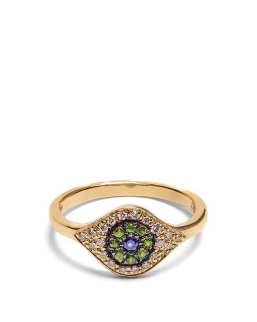 Ileana Makri - Metallic Diamond, Sapphire, Tsavorite & Yellow-gold Ring - Lyst