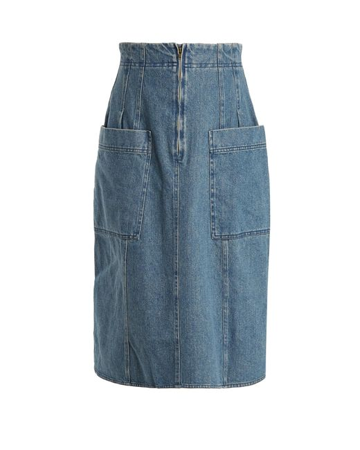 apiece apart a line cotton denim skirt in blue lyst