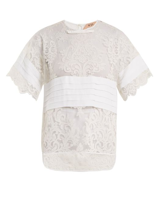 N°21 - White Crepe Panelled Lace T Shirt - Lyst