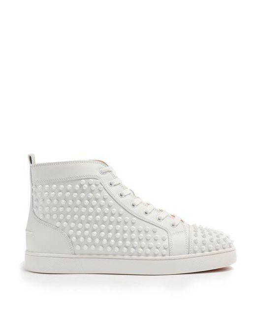 0ebfa7e77db6 Christian Louboutin - White Yang Louis Flat Leather Sneakers for Men - Lyst  ...